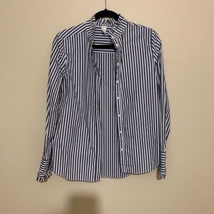 H&M Grey Striped Ruffle Button Down
